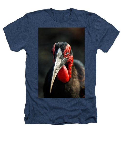 Southern Ground Hornbill Portrait Front View Heathers T-Shirt by Johan Swanepoel