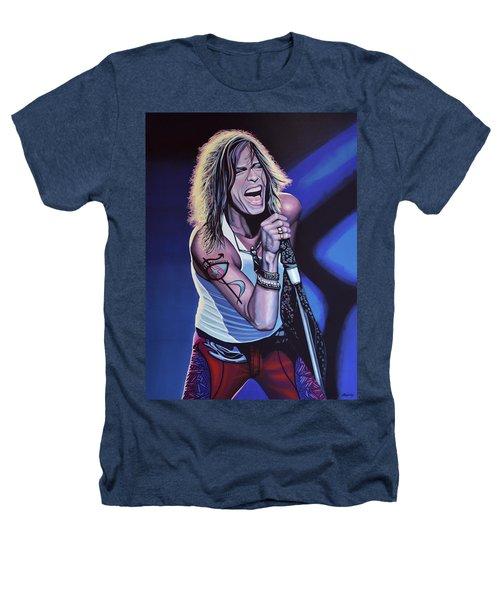 Steven Tyler Of Aerosmith Heathers T-Shirt by Paul Meijering