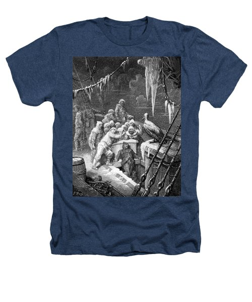 The Albatross Being Fed By The Sailors On The The Ship Marooned In The Frozen Seas Of Antartica Heathers T-Shirt by Gustave Dore