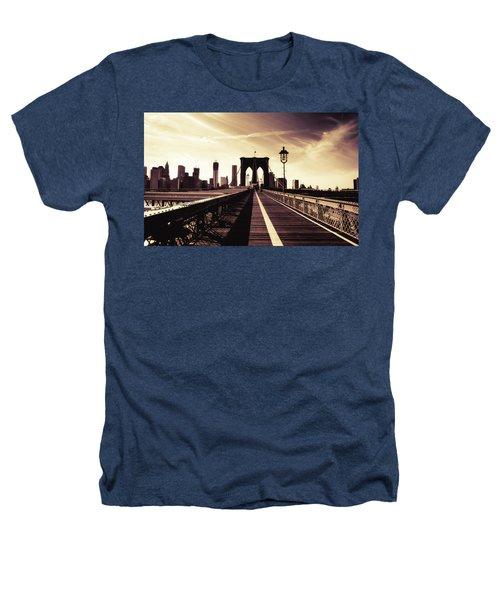 The Brooklyn Bridge - New York City Heathers T-Shirt by Vivienne Gucwa