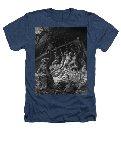 The Dead Sailors Rise Up And Start To Work The Ropes Of The Ship So That It Begins To Move Heathers T-Shirt by Gustave Dore