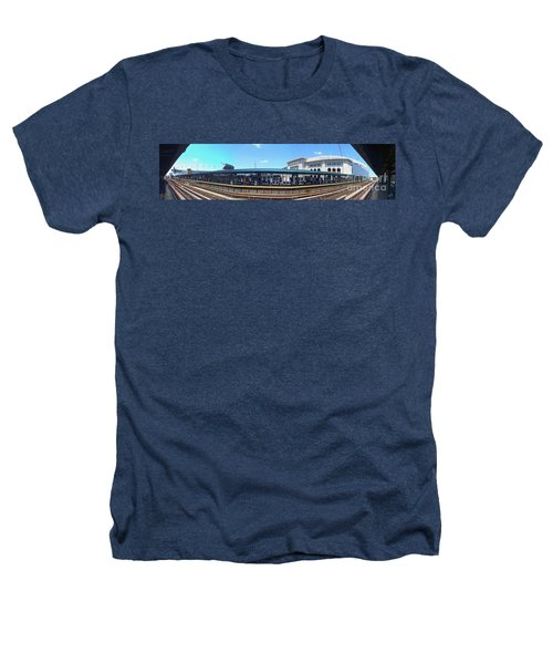 The Old And New Yankee Stadiums Panorama Heathers T-Shirt by Nishanth Gopinathan