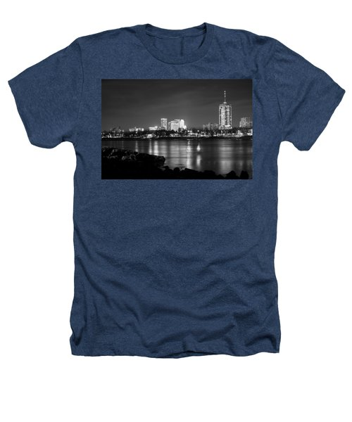 Tulsa In Black And White - University Tower View Heathers T-Shirt by Gregory Ballos