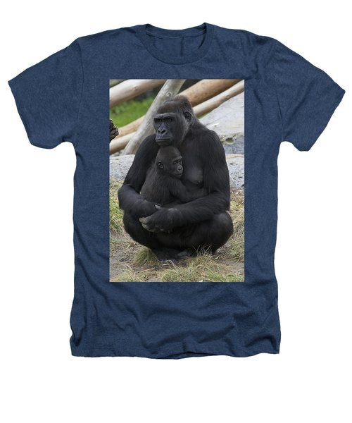 Western Lowland Gorilla Mother And Baby Heathers T-Shirt by San Diego Zoo