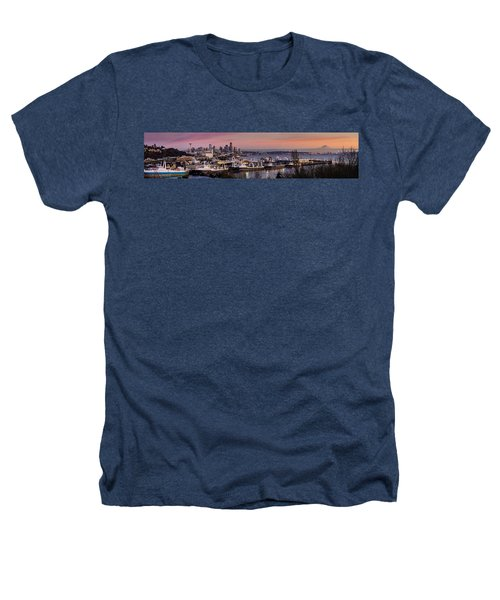Wider Seattle Skyline And Rainier At Sunset From Magnolia Heathers T-Shirt by Mike Reid
