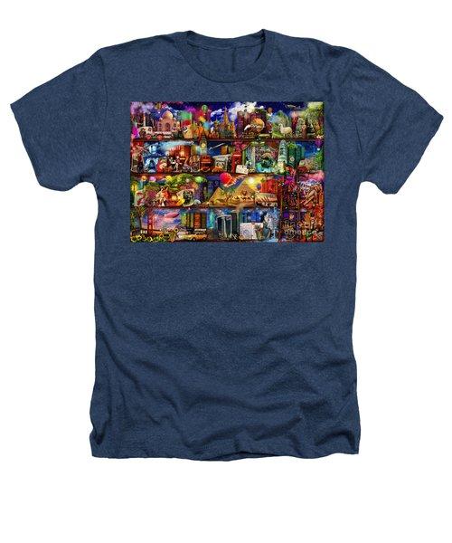 World Travel Book Shelf Heathers T-Shirt by Aimee Stewart