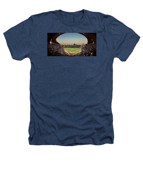 Wrigley Field Night Game Chicago Heathers T-Shirt by Steve Gadomski
