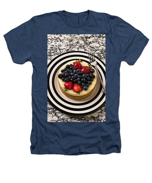 Cheese Cake On Black And White Plate Heathers T-Shirt by Garry Gay