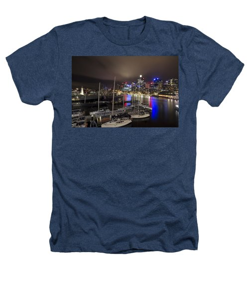 Darling Harbor Sydney Skyline 2 Heathers T-Shirt by Douglas Barnard