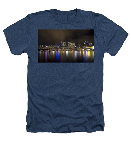 Darling Harbor Sydney Skyline Heathers T-Shirt by Douglas Barnard
