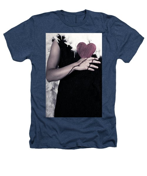 Lady With Blood And Heart Heathers T-Shirt by Joana Kruse