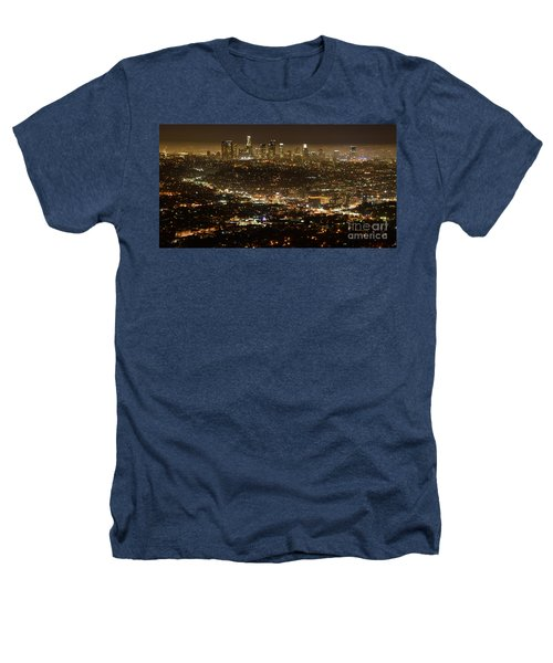 Los Angeles  City View At Night  Heathers T-Shirt by Bob Christopher