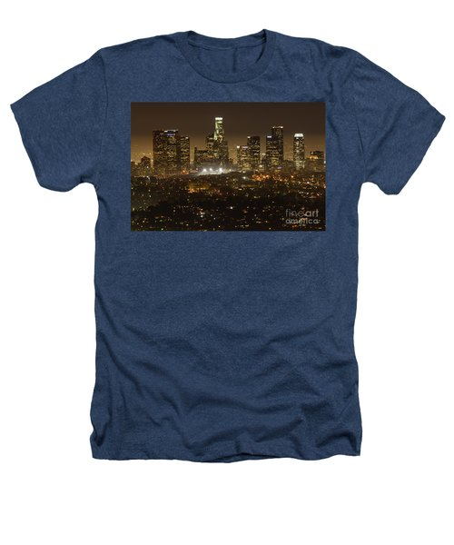 Los Angeles Skyline At Night Heathers T-Shirt by Bob Christopher