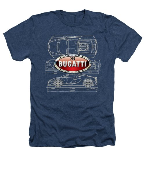 Bugatti 3 D Badge Over Bugatti Veyron Grand Sport Blueprint  Heathers T-Shirt by Serge Averbukh