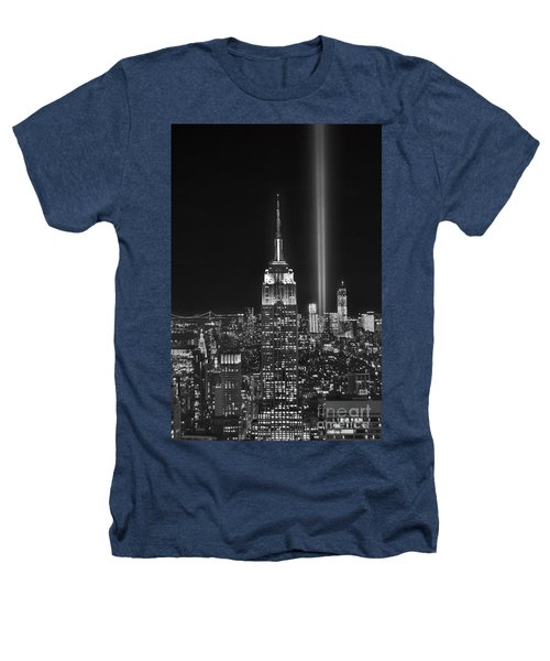 New York City Tribute In Lights Empire State Building Manhattan At Night Nyc Heathers T-Shirt by Jon Holiday