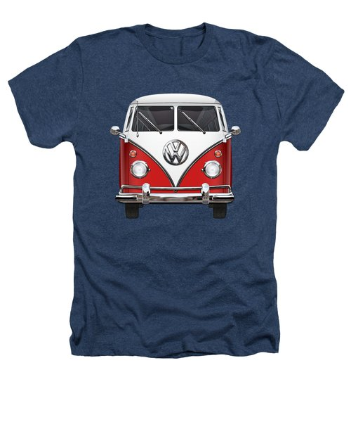 Volkswagen Type 2 - Red And White Volkswagen T 1 Samba Bus Over Green Canvas  Heathers T-Shirt by Serge Averbukh