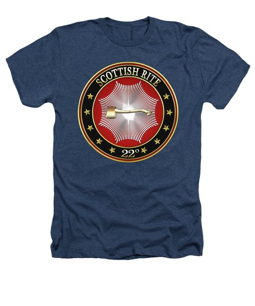 22nd Degree - Knight Of The Royal Axe Jewel On Black Leather Heathers T-Shirt by Serge Averbukh