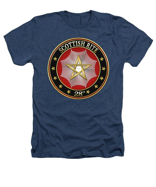 28th Degree - Knight Commander Of The Temple Jewel On Black Leather Heathers T-Shirt by Serge Averbukh