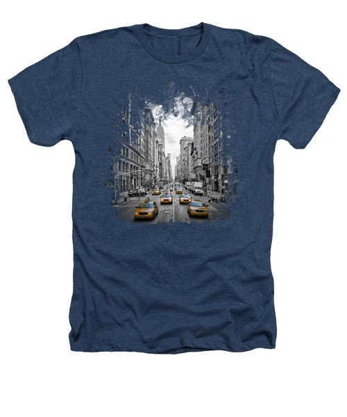 5th Avenue Yellow Cabs Heathers T-Shirt by Melanie Viola