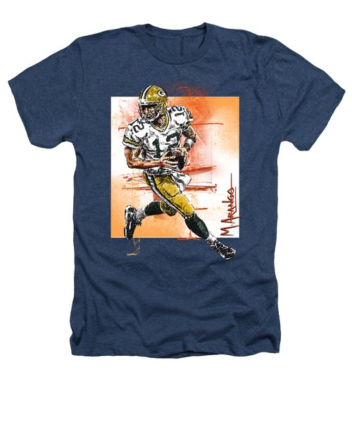 Aaron Rodgers Scrambles Heathers T-Shirt by Maria Arango