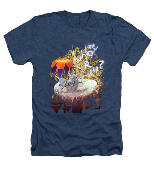Alice N The Hookah Caterpillar Heathers T-Shirt by Methune Hively