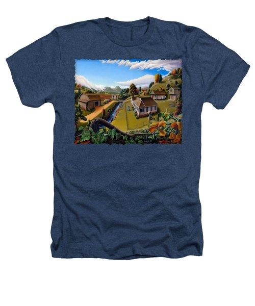 Appalachia Summer Farming Landscape - Appalachian Country Farm Life Scene - Rural Americana Heathers T-Shirt by Walt Curlee