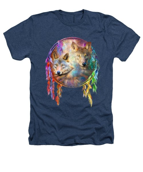 Dream Catcher - Wolf Spirits Heathers T-Shirt by Carol Cavalaris