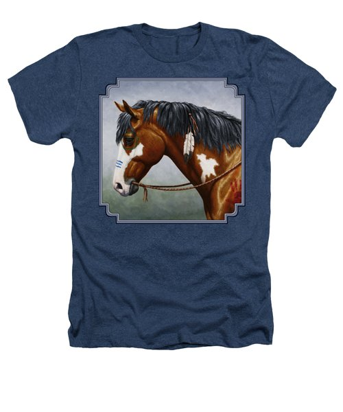 Bay Native American War Horse Heathers T-Shirt by Crista Forest