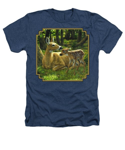 Whitetail Deer - First Spring Heathers T-Shirt by Crista Forest
