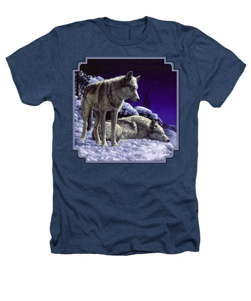 Wolf Painting - Night Watch Heathers T-Shirt by Crista Forest