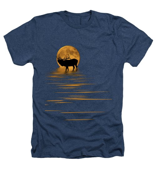 Elk In The Moonlight Heathers T-Shirt by Shane Bechler
