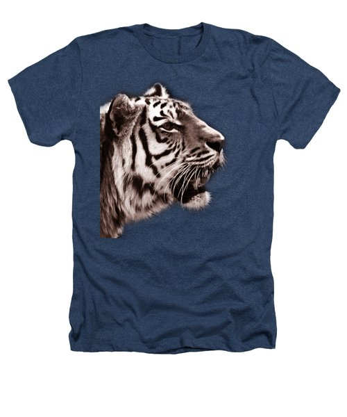 Siberian Tiger Profile Heathers T-Shirt by Crystal Wightman