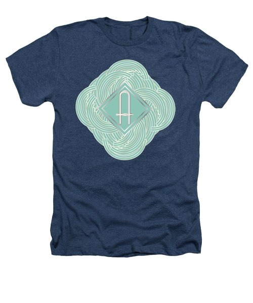 1920s Blue Deco Jazz Swing Monogram ...letter A Heathers T-Shirt by Cecely Bloom
