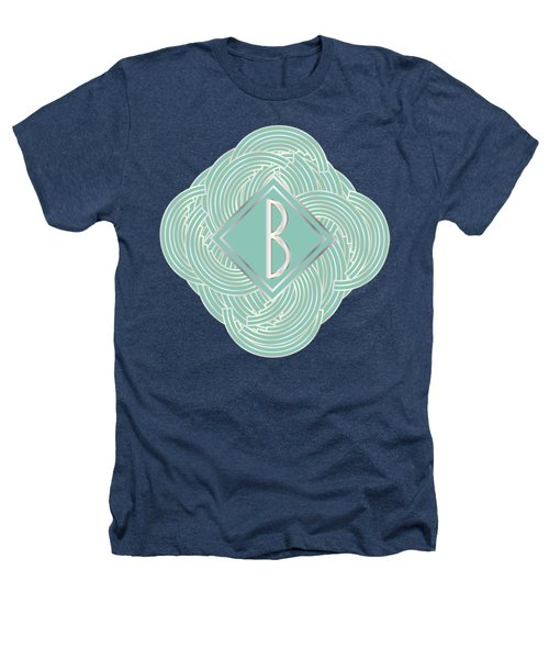 1920s Blue Deco Jazz Swing Monogram ...letter B Heathers T-Shirt by Cecely Bloom