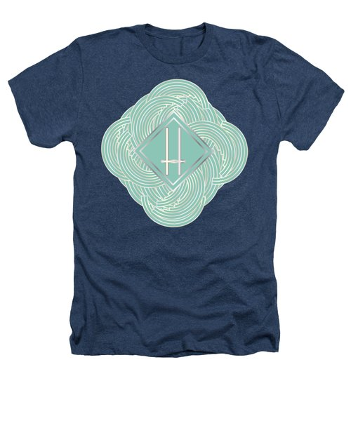 1920s Blue Deco Jazz Swing Monogram ...letter H Heathers T-Shirt by Cecely Bloom