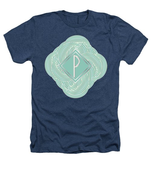 1920s Blue Deco Jazz Swing Monogram ...letter P Heathers T-Shirt by Cecely Bloom