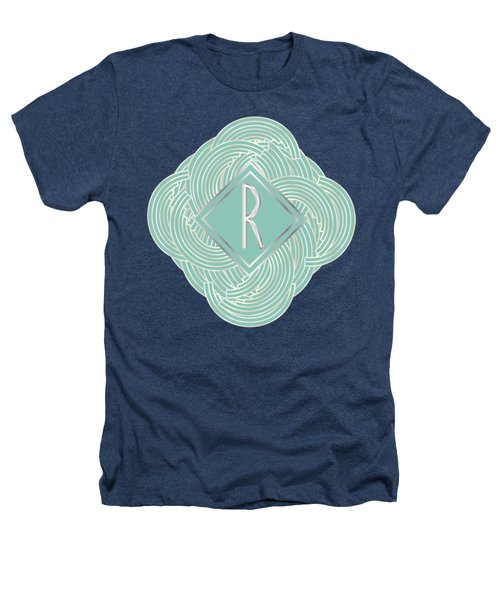 1920s Blue Deco Jazz Swing Monogram ...letter R Heathers T-Shirt by Cecely Bloom