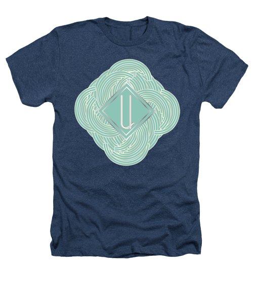 1920s Blue Deco Jazz Swing Monogram ...letter U Heathers T-Shirt by Cecely Bloom