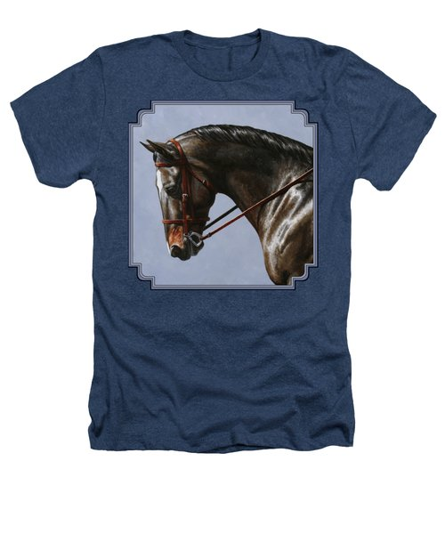 Horse Painting - Discipline Heathers T-Shirt by Crista Forest