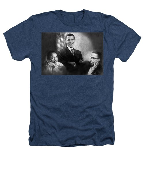 Barack Obama Martin Luther King Jr And Malcolm X Heathers T-Shirt by Ylli Haruni