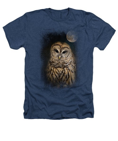 Barred Owl And The Moon Heathers T-Shirt by Jai Johnson