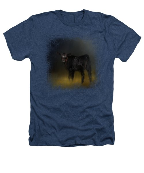 Black Angus Calf In The Moonlight Heathers T-Shirt by Jai Johnson