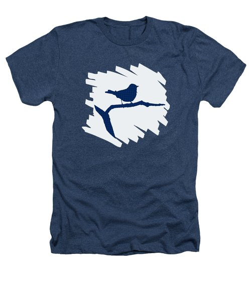 Blue Bird Silhouette Modern Bird Art Heathers T-Shirt by Christina Rollo