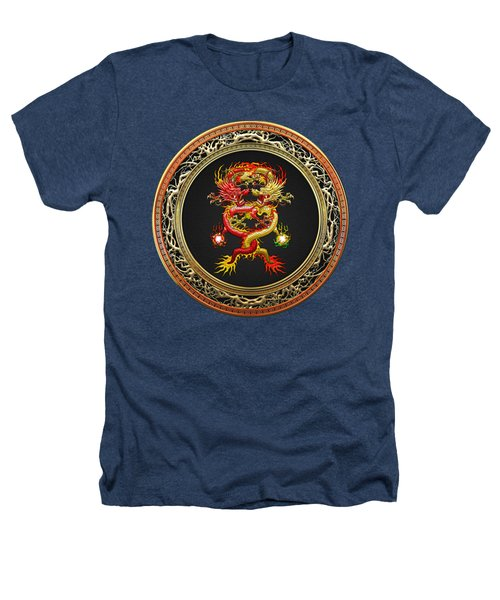 Brotherhood Of The Snake - The Red And The Yellow Dragons On Black Velvet Heathers T-Shirt by Serge Averbukh