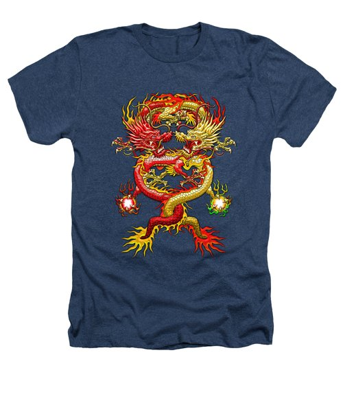 Brotherhood Of The Snake - The Red And The Yellow Dragons On Red And Black Leather Heathers T-Shirt by Serge Averbukh