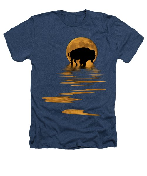 Buffalo In The Moonlight Heathers T-Shirt by Shane Bechler