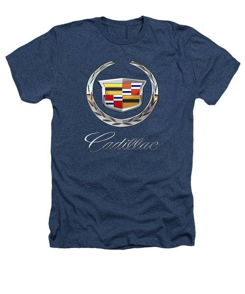 Cadillac - 3d Badge On Black Heathers T-Shirt by Serge Averbukh
