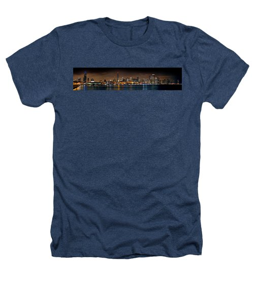 Chicago Skyline At Night Extra Wide Panorama Heathers T-Shirt by Jon Holiday