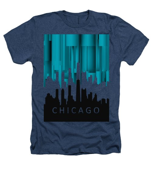 Chicago Turqoise Vertical In Negetive Heathers T-Shirt by Alberto RuiZ