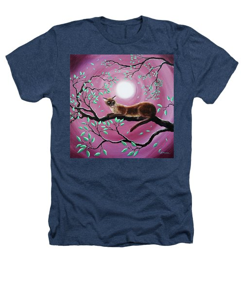 Chocolate Burmese Cat In Dancing Leaves Heathers T-Shirt by Laura Iverson